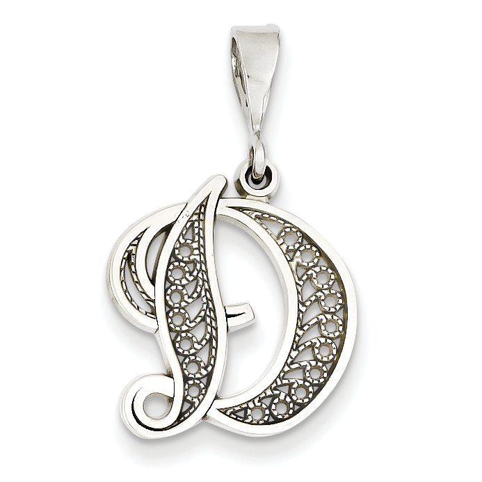14K White Gold Solid Polished Filigree Initial D Pendant - image 2 of 2