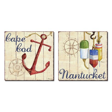 Nantucket Nautical Painting (Retro Nautical Nantucket and Cape Cod Anchor Buoy; Two 12x12in Poster Prints)