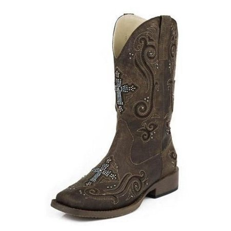 Roper Western Boots Womens Cross Crystal Brown 09-021-1901-0937 BR Womens Kings Cross Boot