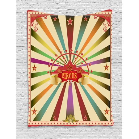 Circus Tapestry, Colorful Retro Circus Invitation or Advertisement for Audience with Tent Silhouette, Wall Hanging for Bedroom Living Room Dorm Decor, 40W X 60L Inches, Multicolor, by Ambesonne for $<!---->