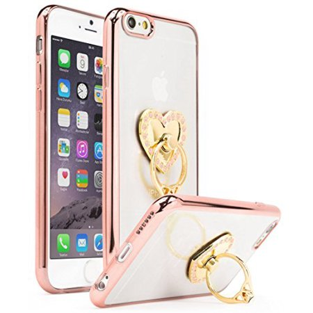 Clear Pink Case - iPhone 6 6s Case, Bastex Ultra Thin Clear Luxury TPU Rose Gold Bumper Case Cover with Attachable Heart Pink Diamond Ring Holder for Apple iPhone 6/6s