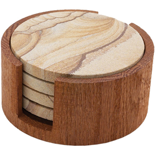 Thirstystone Circular Drink Coaster Holder, Oak
