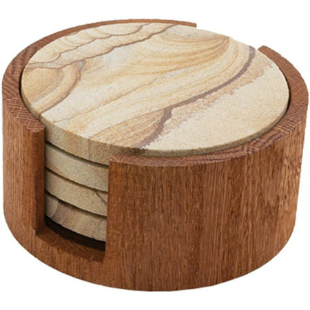 Thirstystone circular drink coaster holder oak - Stone coasters for drinks ...