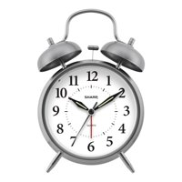 Sharp Twin Bell Quartz Analog Alarm Clock in Brushed Metal