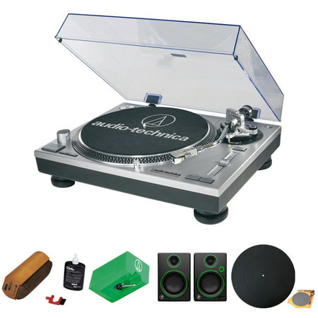 Audio-Technica Professional Stereo Turntable w/ USB LP to DIG, Silver (ATLP120USB) w/ Vinyl Record Cleaning Fluid, Stylus for AT95E, Reference Multimedia Monitors (Pair) Deco Gear Turntable Platter Audio Profile Lp Usb