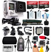 GoPro HERO4 Silver Edition 4K Action Camera with 2x Micro SD Cards, 2x Batteries, Charger, Card Reader, Backpack, Helmet Strap, Chest Harness, Action Handle, Car Mount, Selfie Stick, Tripod and more