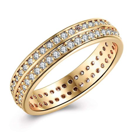 Ginger Lyne Collection Hiran 5mm Wide Two Row Cubic Zirconia Gold Plate Bridal Wedding Band Ring 6 2 Row Wedding Band Ring