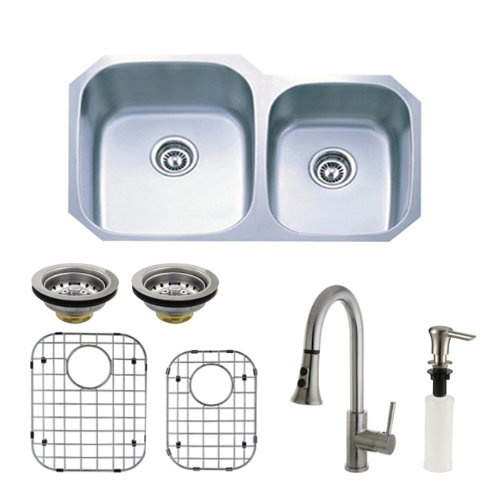 Gourmetier Kzgkud3221pf Undermount Double Bowl Kitchen Sink And