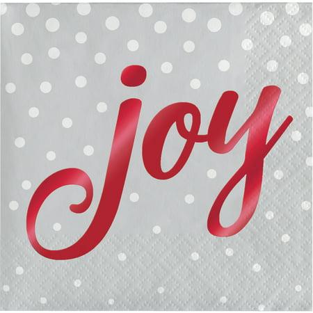 Foil Stamped Holiday Joy Silver Beverage Napkins, 16 pack