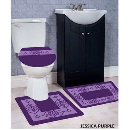 WPM 3 Piece Bath Rug Set JESSICA Pattern Bathroom Rug (20