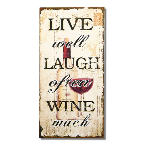 Adeco Trading ''Live Well Laugh Often Wine Much'' Wall Decor