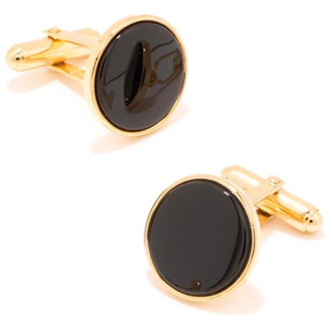Ox and Bull OB-ONX-GL Gold and Onyx Cufflinks