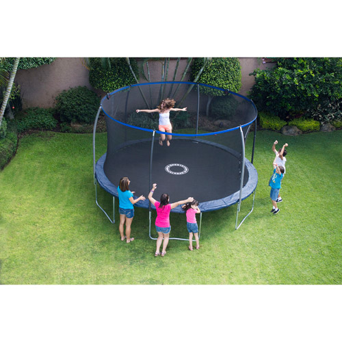 BouncePro 14' Trampoline with Steelflex Enclosure and Electron Shooter Game, Dark Blue (Box 1 of 2)