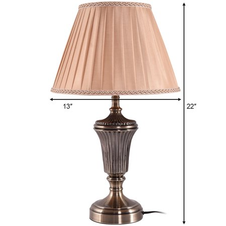 13'' Antique Brass Bedside Table Lamp w/ LED Bulb Champagne Night Light - image 2 of 10