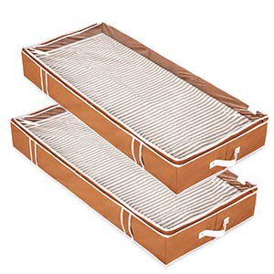 Magicfly Under Bed Organizer, Sturdy Cardboard in Each Side & Upgrade Zipper & Transparent Top Under Bed Storage Bags for Tidy Up Your Closets, Blankets, Linen Cloth, Pack of 2, Ginger Yellow