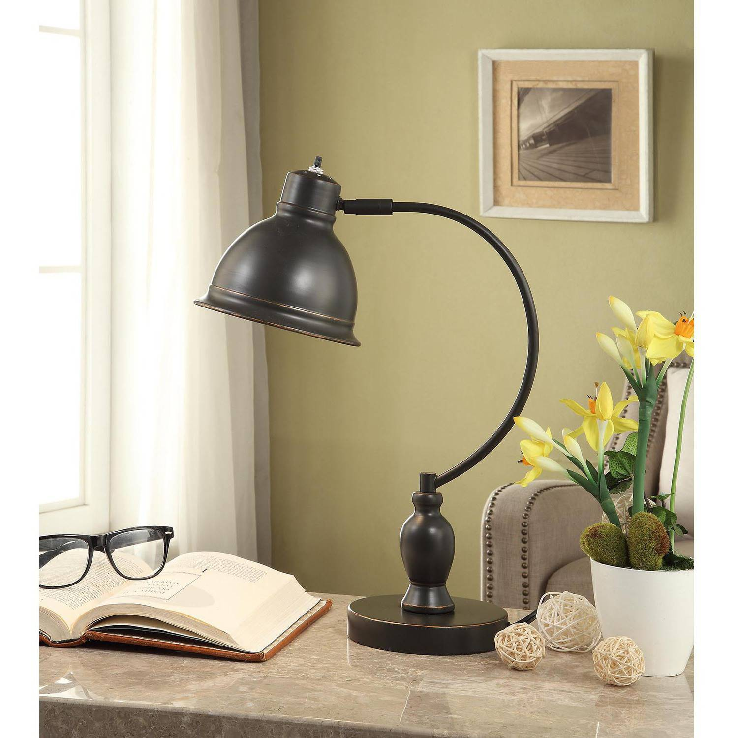 Better Homes and Gardens Traditional Desk Lamp with CFL Bulb, Bronze