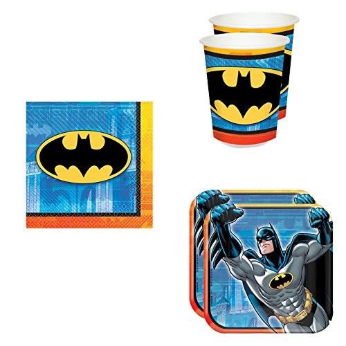 batman party pack set plates, cups, napkins (16 guests)