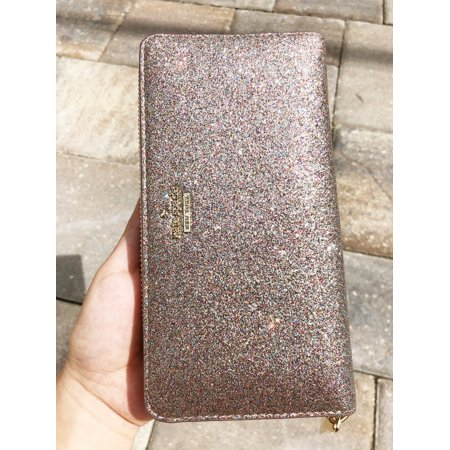 Fabric Continental Wallet - NWT Kate Spade Burgess Court Glitter Lacey Continental Wallet Multi Pink Gold
