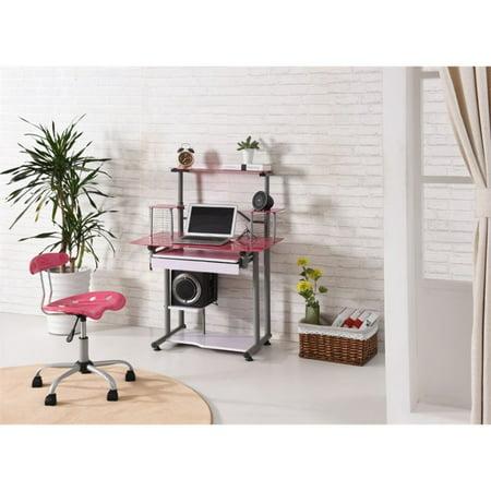 Hodedah Tempered Glass Computer Desk in Pink - image 2 de 6