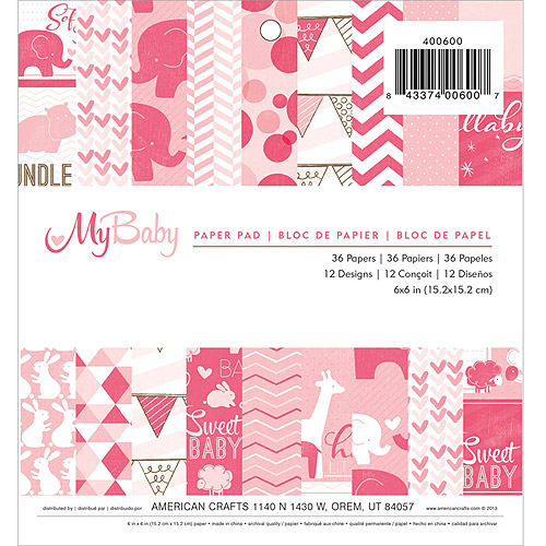 "My Baby Girl Paper Pad, 6"" x 6"" 36 Sheets"