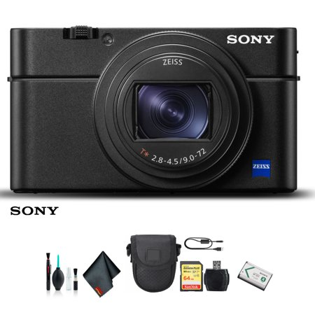 Sony Cyber-shot DSC-RX100 VI Camera DSCRX100M6/B With Soft Bag, 64GB Memory Card, Card Reader , Plus Essential Accessories