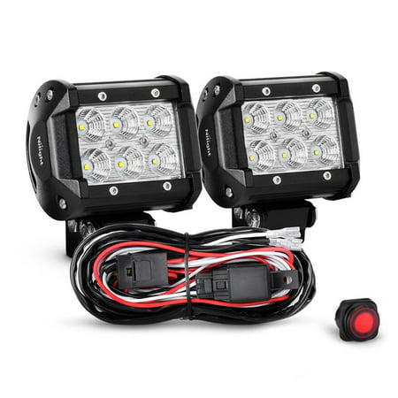 Nilight 2pcs 4 inch 18w flood led light bars led work lights led fog nilight 2pcs 4 inch 18w flood led light bars led work lights led fog lights off aloadofball