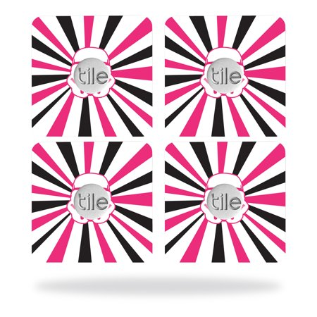 Skin Decal Wrap for Tile Slim Key Finder (4 pack) Pink Star Rays