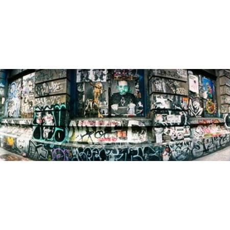 Graffiti Covered Germania Bank Building On Bowery Street Soho Manhattan New York City New York State Usa Poster Print