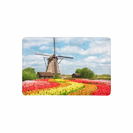 mkhert netherlands countryside dutch scenery with windmill and tulips doormat rug home decor. Black Bedroom Furniture Sets. Home Design Ideas