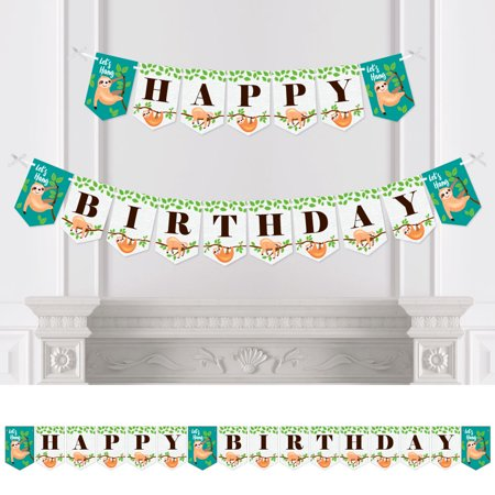 Let's Hang - Sloth - Birthday Party Bunting Banner - Birthday Party Decorations - Happy Birthday for $<!---->