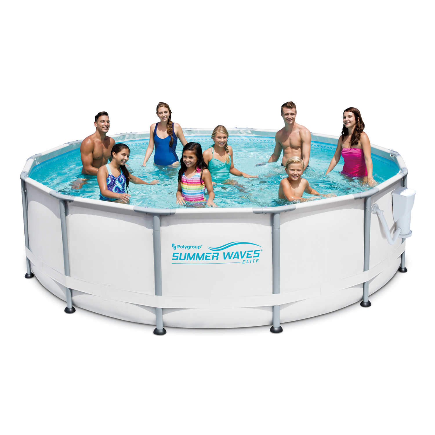 "Summer Waves Elite 14' x 42"" Premium Frame Above Ground Swimming Pool with Filter Pump System And Deluxe Accessory Set"