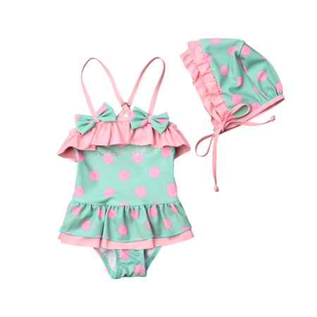 Baby Girl Ruffle Swimsuits Toddler Straped Polka Dots Bathing Suit Swimwear and Sunscreen Hat 1-7T
