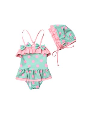 a4cb0d8cfa72c Product Image Baby Girl Ruffle Swimsuits Toddler Straped Polka Dots Bathing  Suit Swimwear and Sunscreen Hat 1-. Emmababy