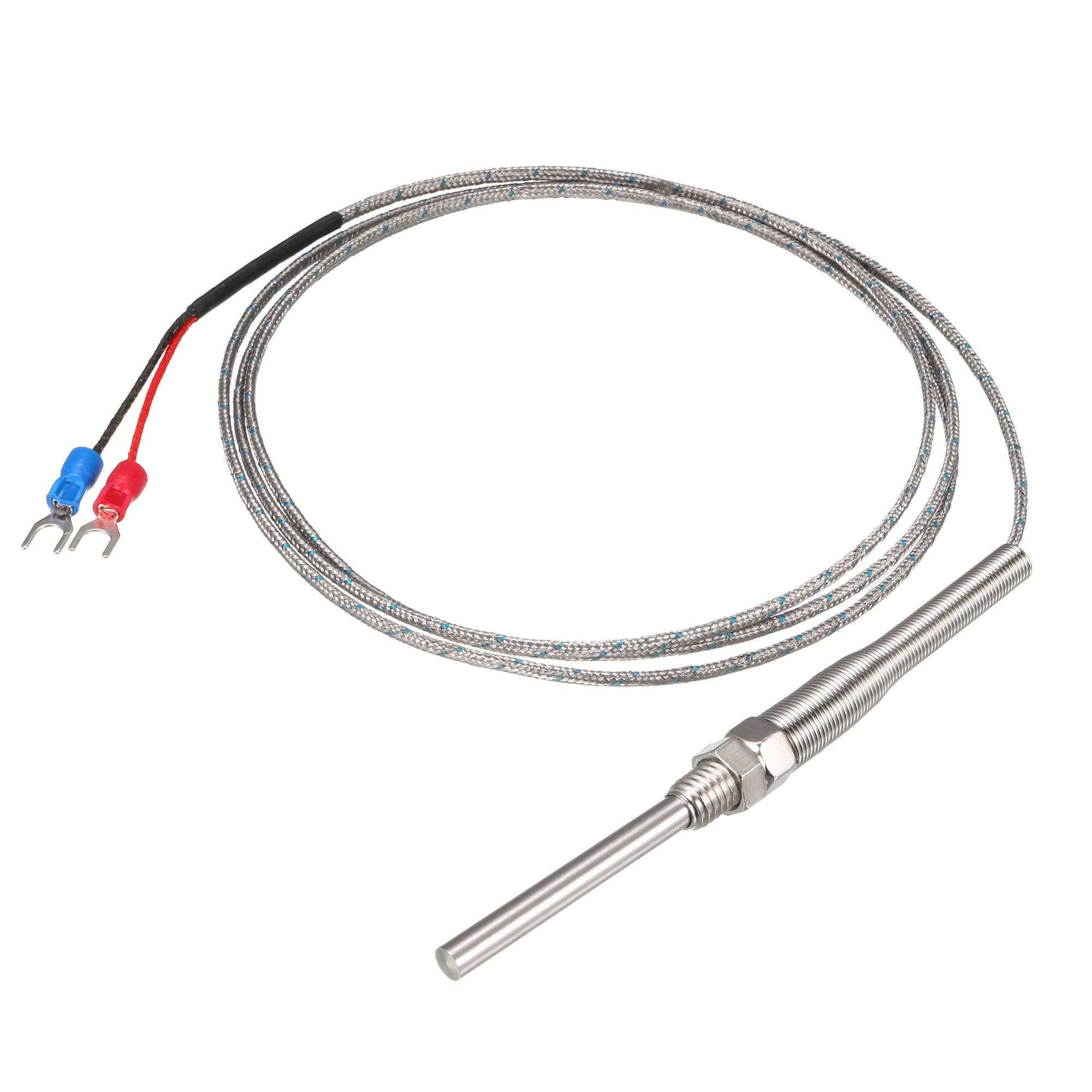 k type thermocouple spring type temperature sensor probe 1 5m cable 5x40mm