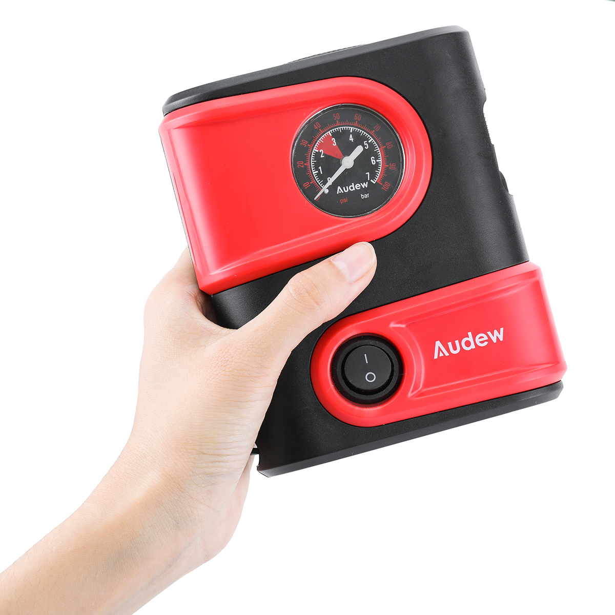 Car Tire Inflator, Audew Portable Mini Air Compressor Pump with Gauge, 12V DC Auto Tire Pump for Car, Bicycle, Motorcycle, SUV,Basketball and Other Inflatables