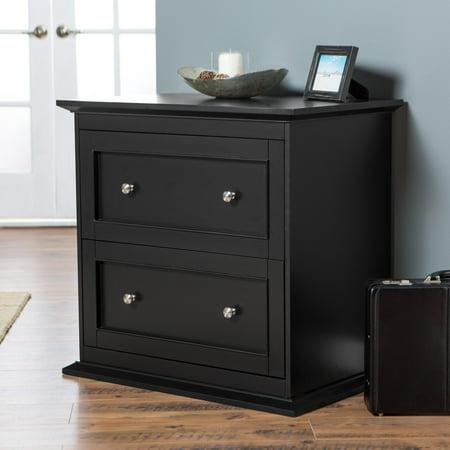 Belham Living Hampton 2-Drawer Lateral Wood Filing Cabinet - Black (Hampton Bay Bath Cabinet)