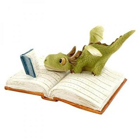 Top Collection Miniature Fairy Garden and Terrarium Mini Dragon Reading Figurine (Fairy Garden Terrarium)