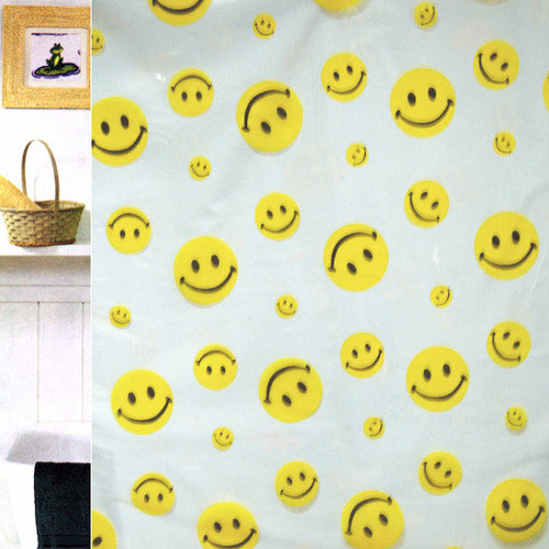 Carnation Home Fashions Happy Face Vinyl Print Shower Curtain