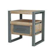 Asta Industrial Modern Teak & Iron End Table