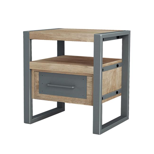 Asta Industrial Modern Teak & Iron End Table