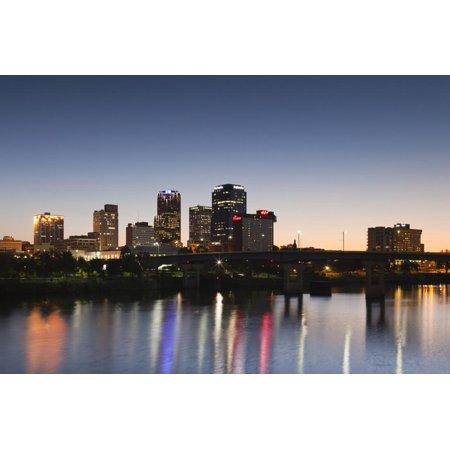 City Skyline from the Arkansas River, Dusk, Little Rock, Arkansas, USA Print Wall Art By Walter Bibikow