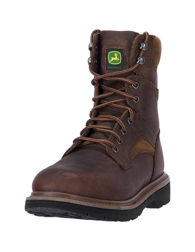 John Deere Work Boots Mens Orthotic Welt Steel Shank Brown JD8194 by John Deere