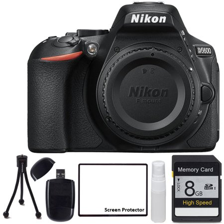 Nikon D5600 Digital Camera with 8GB SDHC SD Memory Card, SD Card Reader, Table Top Tripod, Lens Cleaning Kit and LCD Screen