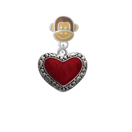 Translucent Red Heart with Decorated Border - Monkey Face Charm Bead