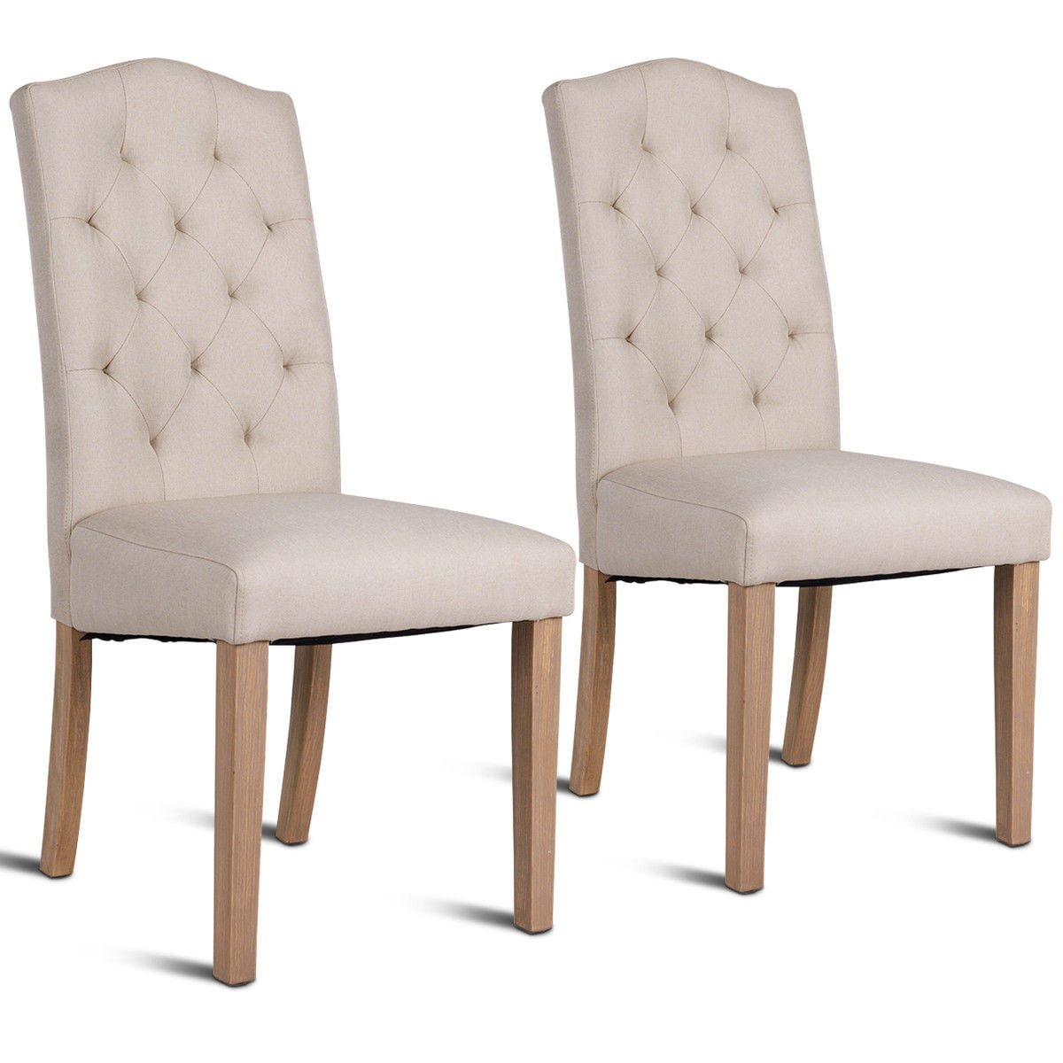 Upholstery For Dining Room Chairs: Costway Set Of 2 Dining Chair Fabric Upholstered With