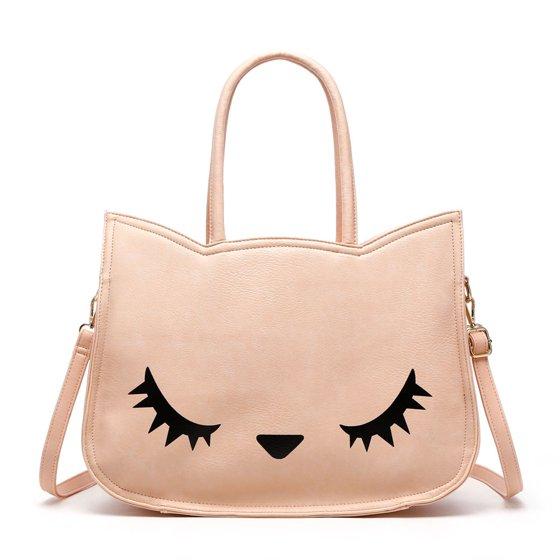 85e1d6a71e ... Beautiful Goose Pattern- Top handle + Shoulder Strap- PU Leather- Top  zipper closure Anna Ricci Woman Fashion Handbag Roxy CAT Tote Bag - Pink