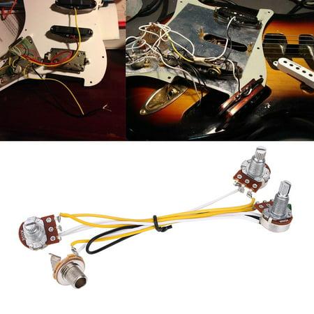 Ejoyous 2 Volume 1 Tone 1 Jack 500K Pots 3 Way Switch Wiring Harness for JB Electirc Guitar Bass ,Wiring Hareness Guitar, Bass Wiring