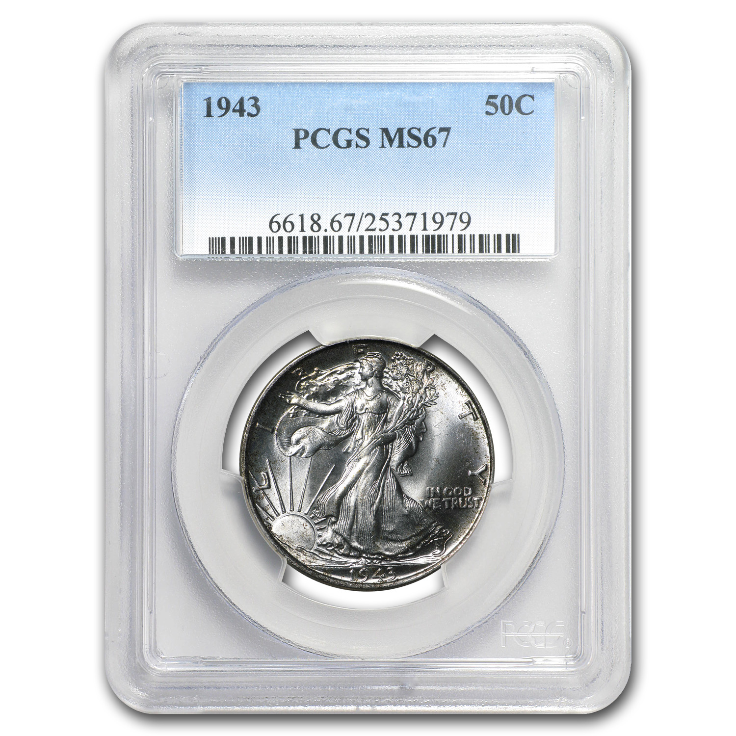 1943 Walking Liberty Half Dollar MS-67 PCGS