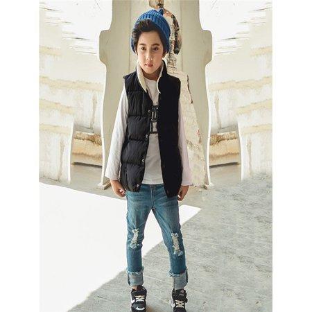 Children Boys Girls Winter Sleeveless Keep Warm Waistcoat Jacket Coat