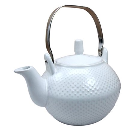 Atlantic Collectibles Imperial Spotted Texture Teapot With Stainless Steel Handle 28oz (White)